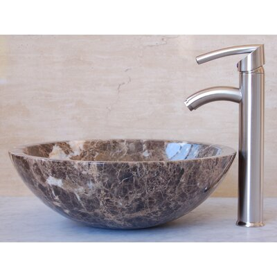 Emperador Bowl Circular Vessel Bathroom Sink