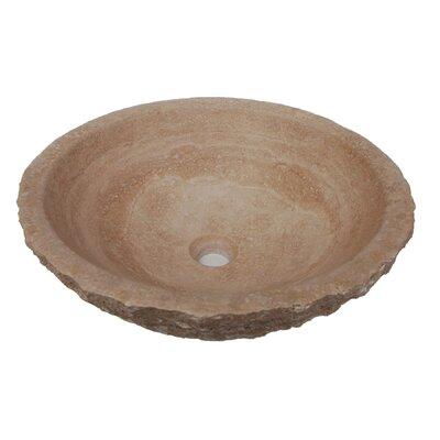 Rough Exterior Stone Circular Vessel Bathroom Sink