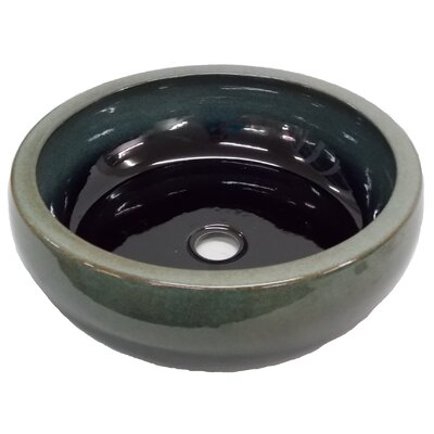 Aquamarine Ceramic Circular Vessel Bathroom Sink