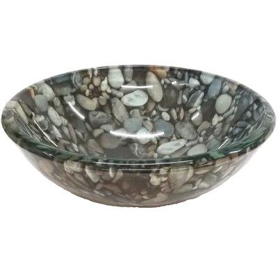 Natural Pebble Pattern Glass Circular Vessel Bathroom Sink
