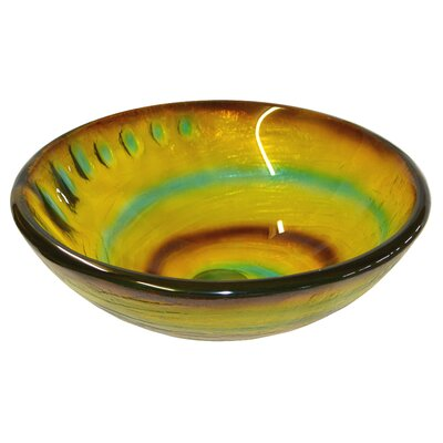 Candy Swirls Glass Circular Vessel Bathroom Sink