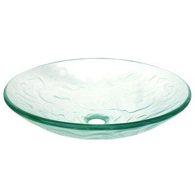 Embossed Waves Glass Circular Vessel Bathroom Sink