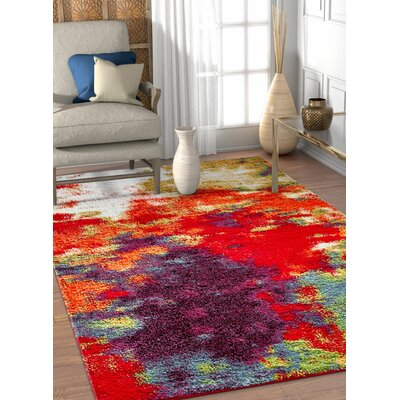 Piatt Mid-Century Abstract Red/Purple Area Rug Rug Size: Rectangle 53 x 73
