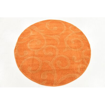 Cartagena Wool Orange Area Rug Rug Size: Round 4