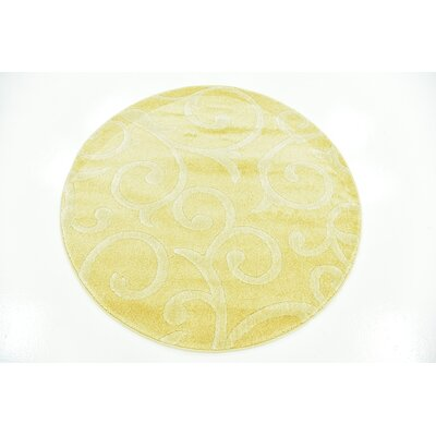 Cartagena Wool Yellow Area Rug Rug Size: Round 4