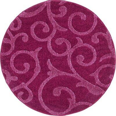 Cartagena Wool Violet Area Rug Rug Size: Round 4
