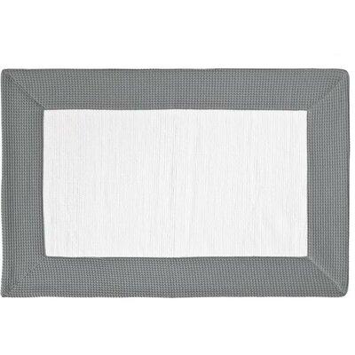 Ewald Absorbent 100% Cotton Bath Rug Size: 0.8 H x 27.6 W x 19.7 D, Color: Gray/White