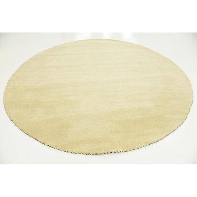 Taul Hand-Knotted Wool Beige Area Rug Rug Size: Round 9 10