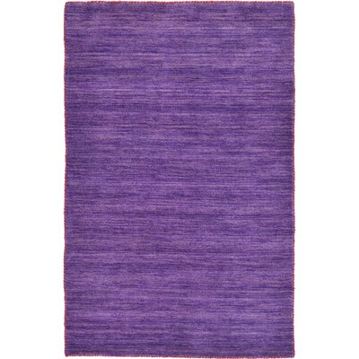 Taul Hand-Knotted Wool Purple Area Rug Rug Size: 4 0 x 6 0