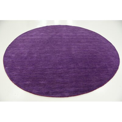 Taul Hand-Knotted Wool Purple Area Rug Rug Size: Round 9 10