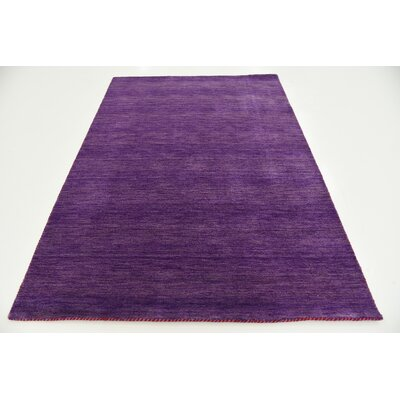 Taul Hand-Knotted Wool Purple Area Rug Rug Size: 5 3 x 7 5