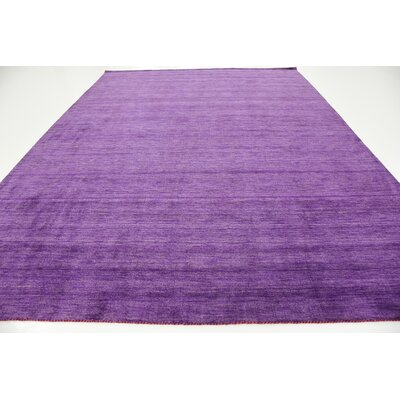 Taul Hand-Knotted Wool Purple Area Rug Rug Size: 9 10 x 13 0