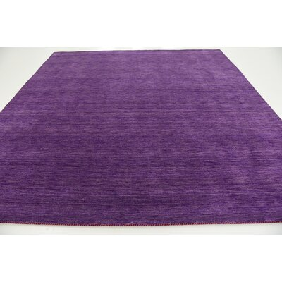 Taul Hand-Knotted Wool Purple Area Rug Rug Size: Square 9 10