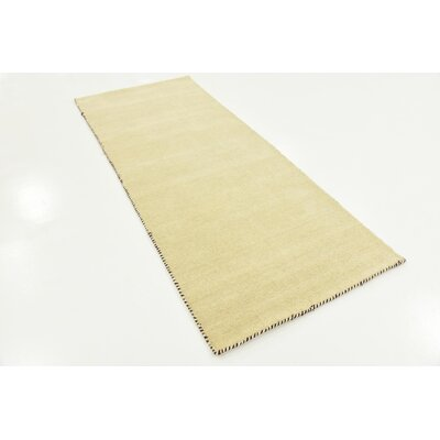 Taul Hand-Knotted Wool Beige Area Rug Rug Size: 2 7 x 6 7