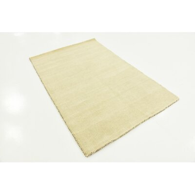 Taul Hand-Knotted Wool Beige Area Rug Rug Size: 3 3 x 5 3