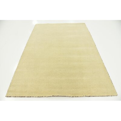 Taul Hand-Knotted Wool Beige Area Rug Rug Size: 5 3 x 7 7