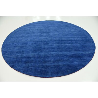 Taul Hand-Knotted Wool Blue Area Rug Rug Size: Round 9 10