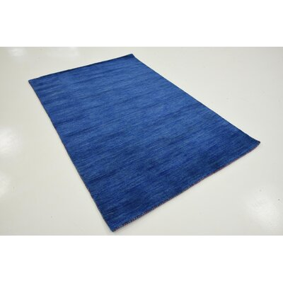 Taul Hand-Knotted Wool Blue Area Rug Rug Size: 4 0 x 6 0