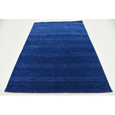 Taul Hand-Knotted Wool Blue Area Rug Rug Size: 5 3 x 7 5
