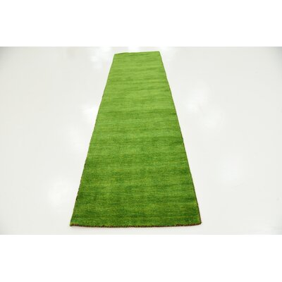 Taul Hand-Knotted Wool Light Green Area Rug Rug Size: 2 7 x 9 10