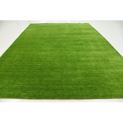 Taul Hand-Knotted Wool Light Green Area Rug Rug Size: 9 10 x 13 0