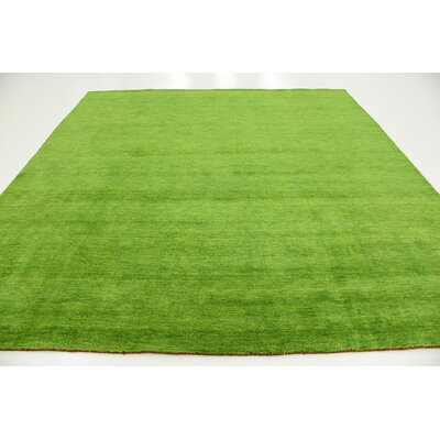 Taul Hand-Knotted Wool Light Green Area Rug Rug Size: 9 10 x 9 10