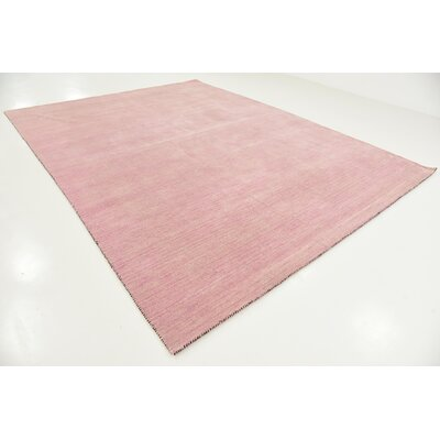 Taul Hand-Knotted Wool Pink Area Rug Rug Size: 9 10 x 13 0