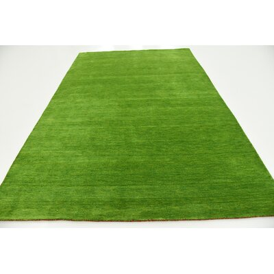 Taul Hand-Knotted Wool Green Area Rug Rug Size: 6 7 x 9 10