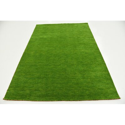 Taul Hand-Knotted Wool Light Green Area Rug Rug Size: 5 3 x 7 5