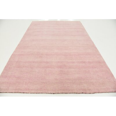 Taul Hand-Knotted Wool Pink Area Rug Rug Size: 6 7 x 9 10