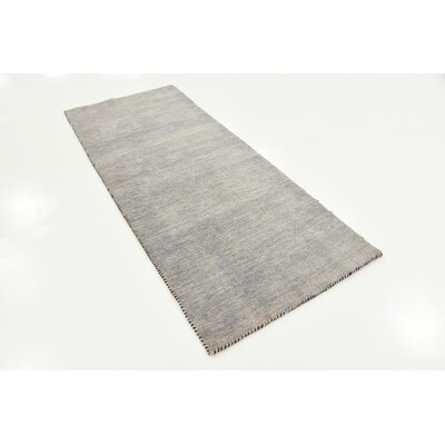 Bottrell Solid Hand-Knotted Wool Gray Area Rug Rug Size: 2 7 x 6 7