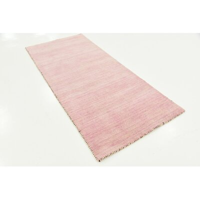 Taul Hand-Knotted Wool Pink Area Rug Rug Size: 2 7 x 6 7