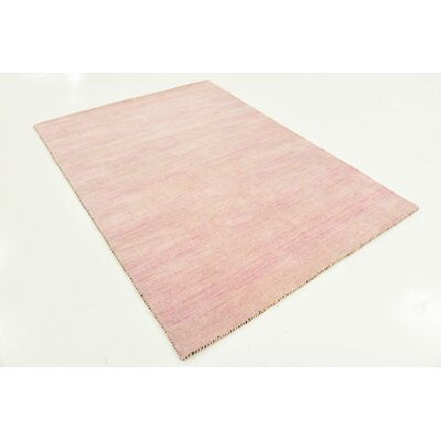 Taul Hand-Knotted Wool Pink Area Rug Rug Size: 4 0 x 6 0