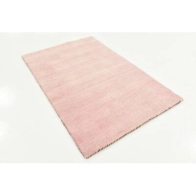 Taul Hand-Knotted Wool Pink Area Rug Rug Size: 3 3 x 5 3
