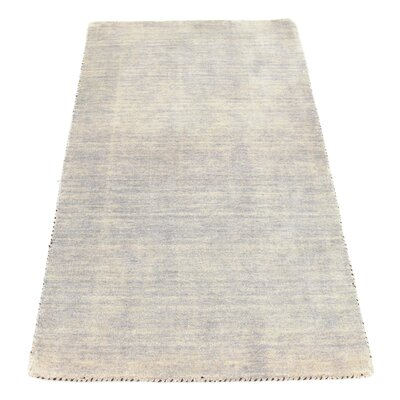 Bottrell Solid Hand-Knotted Wool Gray Area Rug Rug Size: 3 2 x 5 2