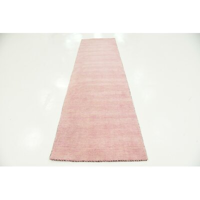 Taul Hand-Knotted Wool Pink Area Rug Rug Size: 2 7 x 9 10