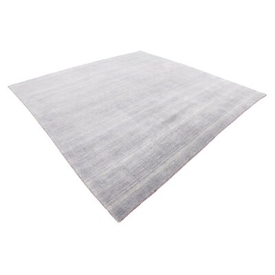 Bottrell Solid Hand-Knotted Wool Gray Area Rug Rug Size: Square 9 10