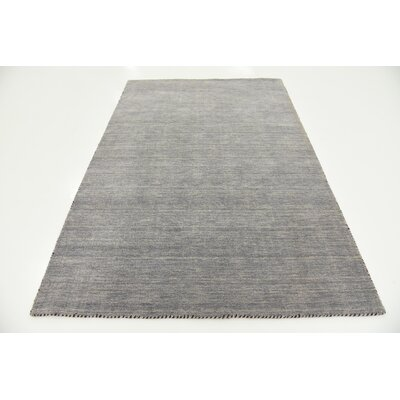 Bottrell Solid Hand-Knotted Wool Gray Area Rug Rug Size: 5 3 x 7 5