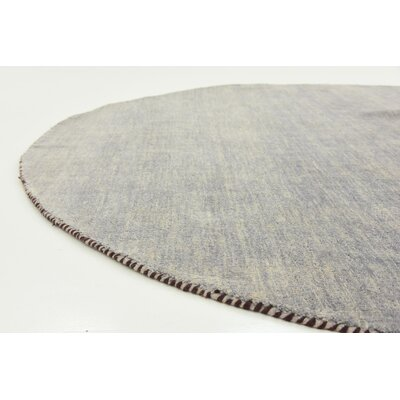 Bottrell Solid Hand-Knotted Wool Gray Area Rug Rug Size: Round 9 10