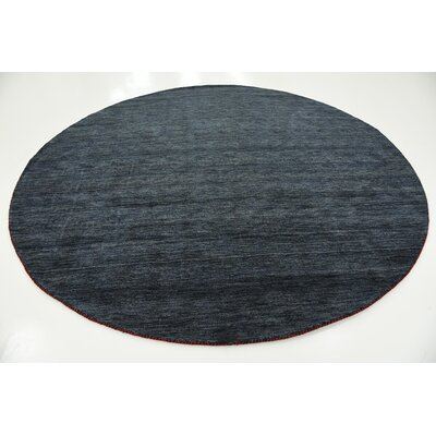 Taul Hand-Knotted Wool Navy Blue Area Rug Rug Size: Round 9 10