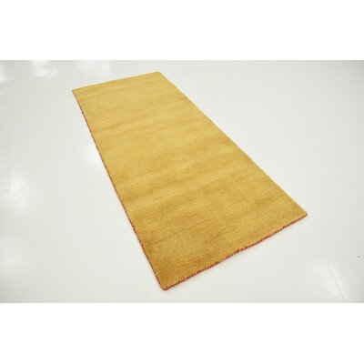 Taul Hand-Knotted Wool Gold Area Rug Rug Size: 2 7 x 6 7