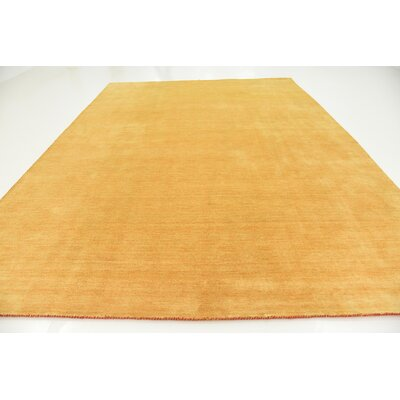 Taul Hand-Knotted Wool Gold Area Rug Rug Size: 9 10 x 13 0