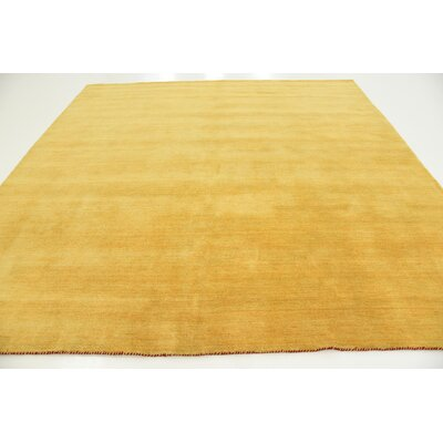 Taul Hand-Knotted Wool Gold Area Rug Rug Size: Square 9 10