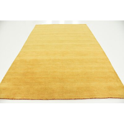 Taul Hand-Knotted Wool Gold Area Rug Rug Size: 6 7 x 9 10