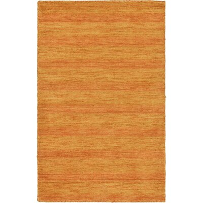 Taul Hand-Knotted Wool Orange Area Rug Rug Size: Round 9 10