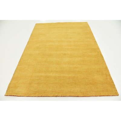 Taul Hand-Knotted Wool Gold Area Rug Rug Size: 5 3 x 7 7