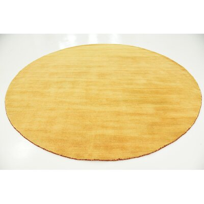 Taul Hand-Knotted Wool Gold Area Rug Rug Size: Round 9 10
