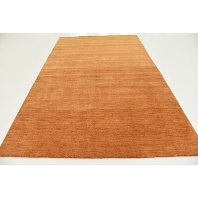 Taul Hand-Knotted Wool Orange Area Rug Rug Size: 6 7 x 9 10