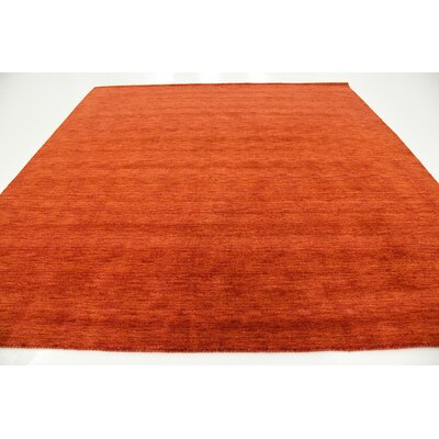 Taul Hand-Knotted Wool Terracotta Area Rug Rug Size: Square 9 10