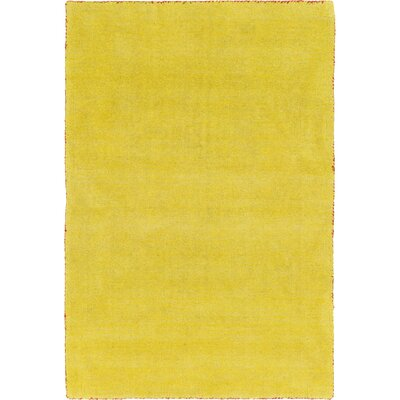 Taul Hand-Knotted Wool Yellow Area Rug Rug Size: 6 7 x 9 10